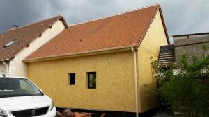Extension ossature bois et enduit avec couverture tuiles plates et aménagement de comble (19) Architecte Tours 37